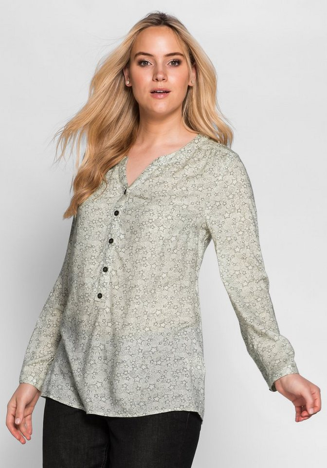 sheego Casual Tunika mit Sternendruck in champagner bedruckt