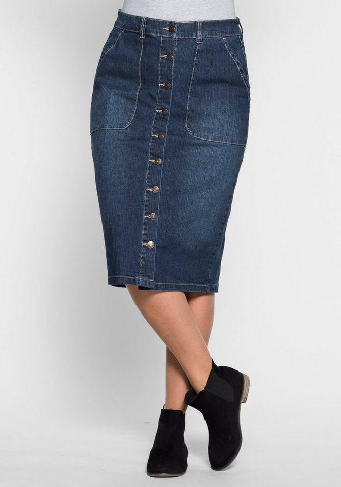 sheego Denim Jeans-Bleistiftrock in dark blue Denim