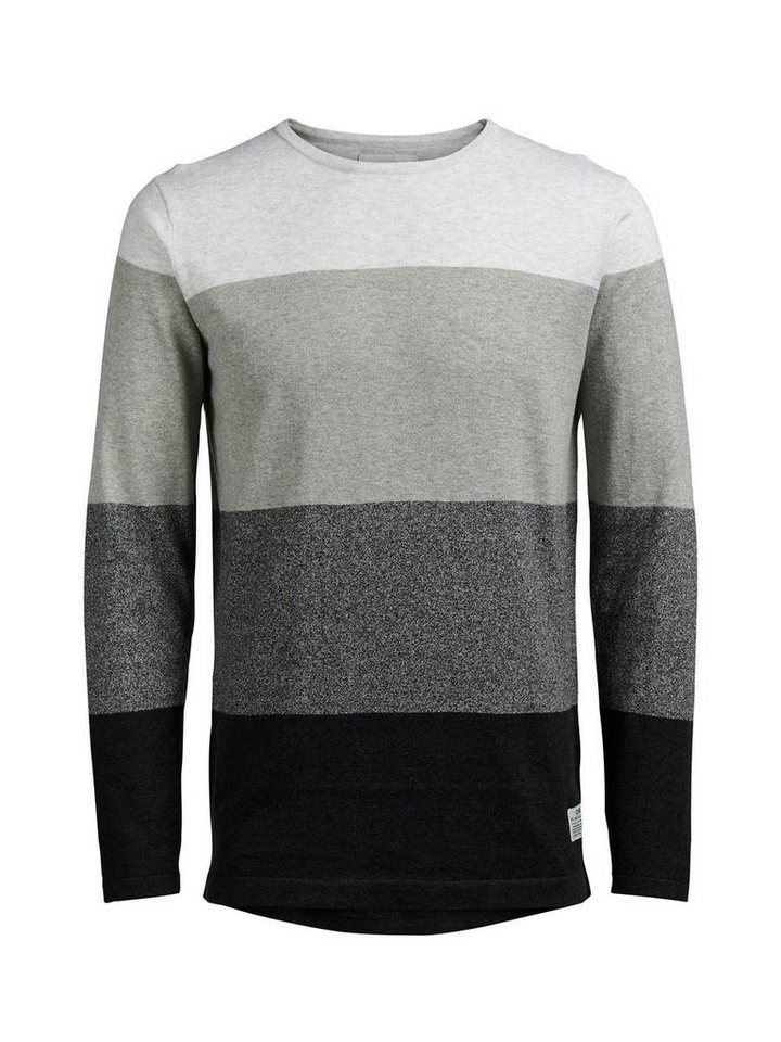 Jack & Jones Blockstreifen- Pullover in Light Grey Melange
