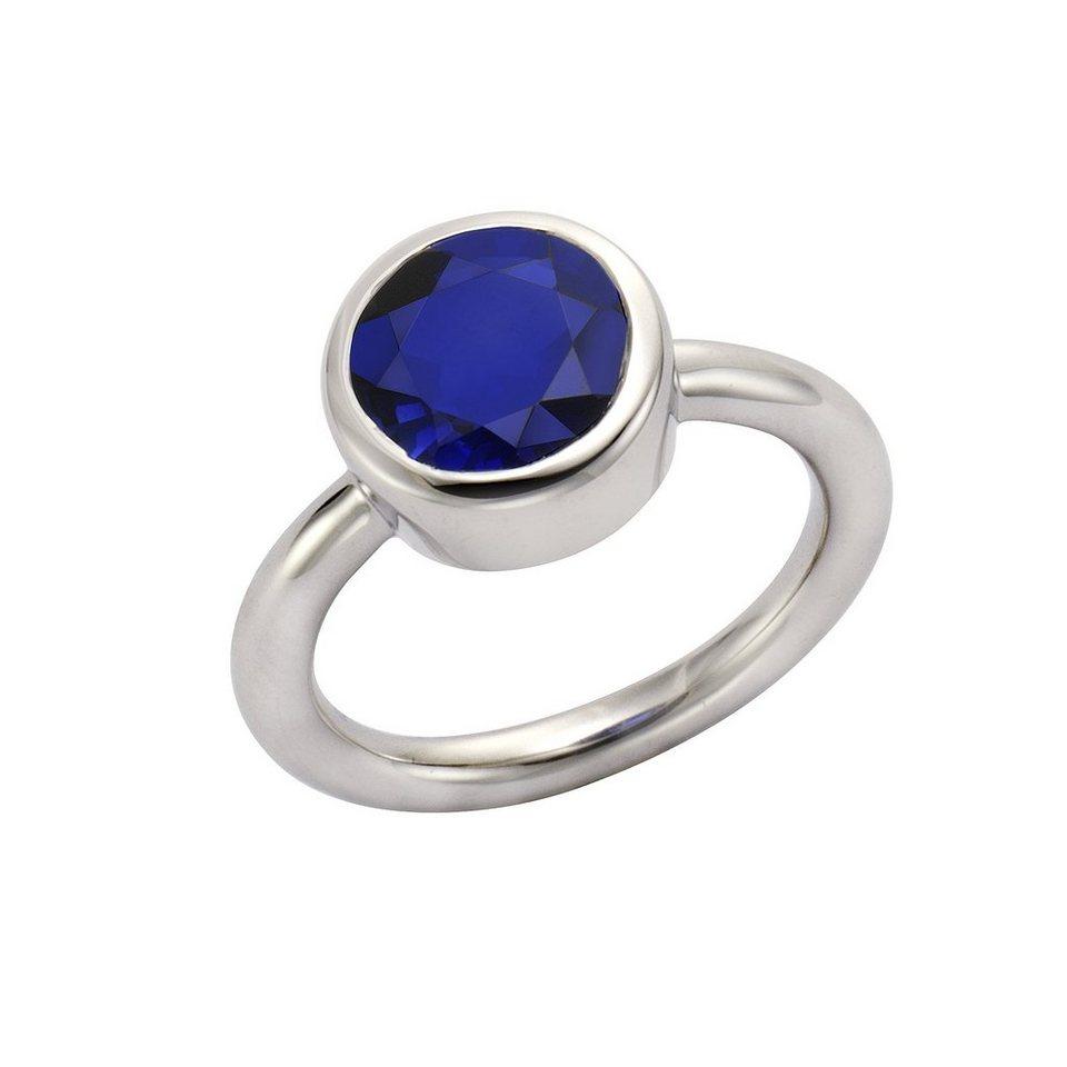 Jamelli Ring »925/- Sterling Silber rhodiniert Quarz blau« in weiß