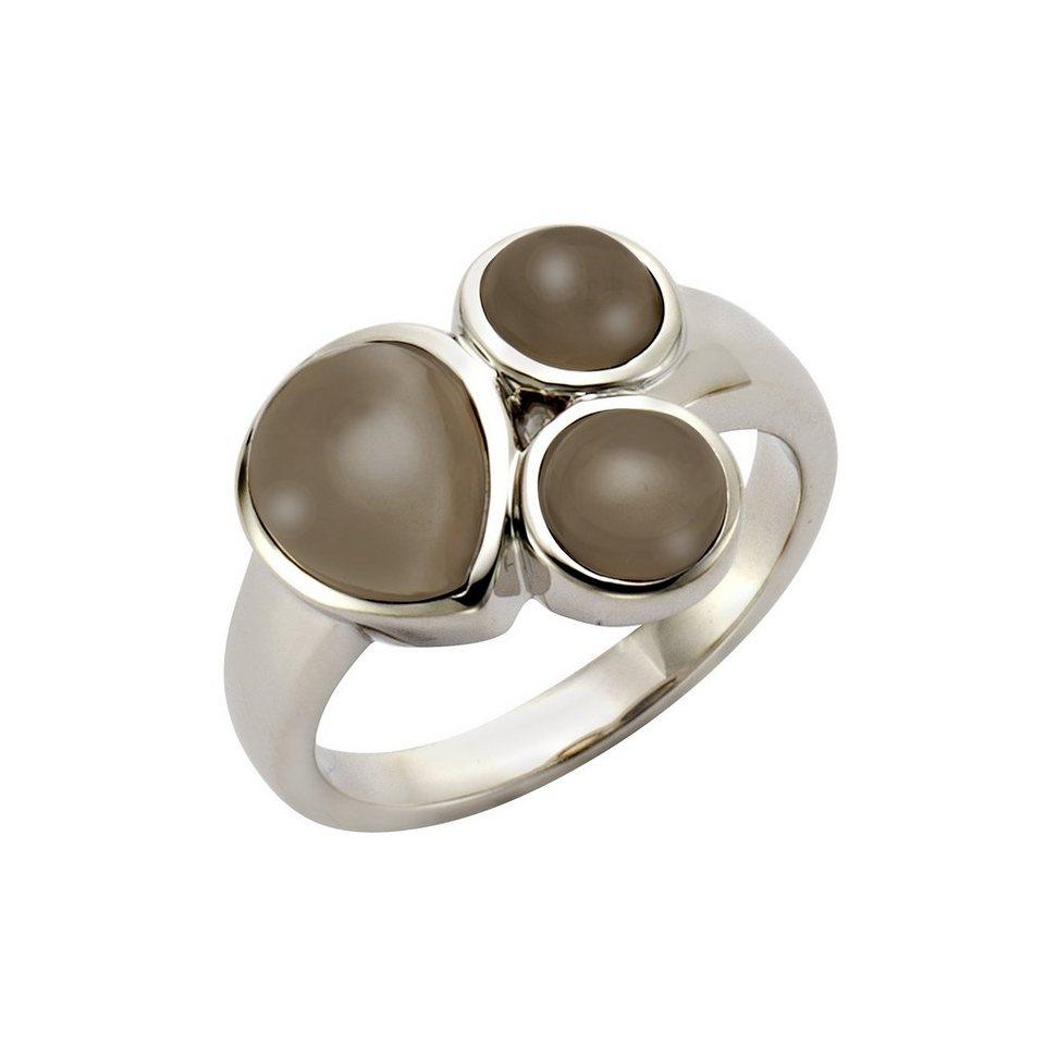 Jamelli Ring »925/- Sterling Silber rhodiniert Rauchquarz« in Silbergrau