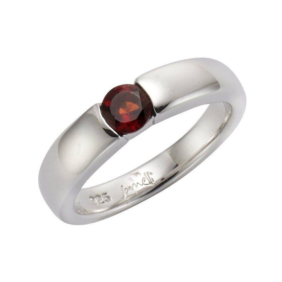 Jamelli Ring »925/- Sterling Silber rhodiniert mit Granat« in Silbergrau