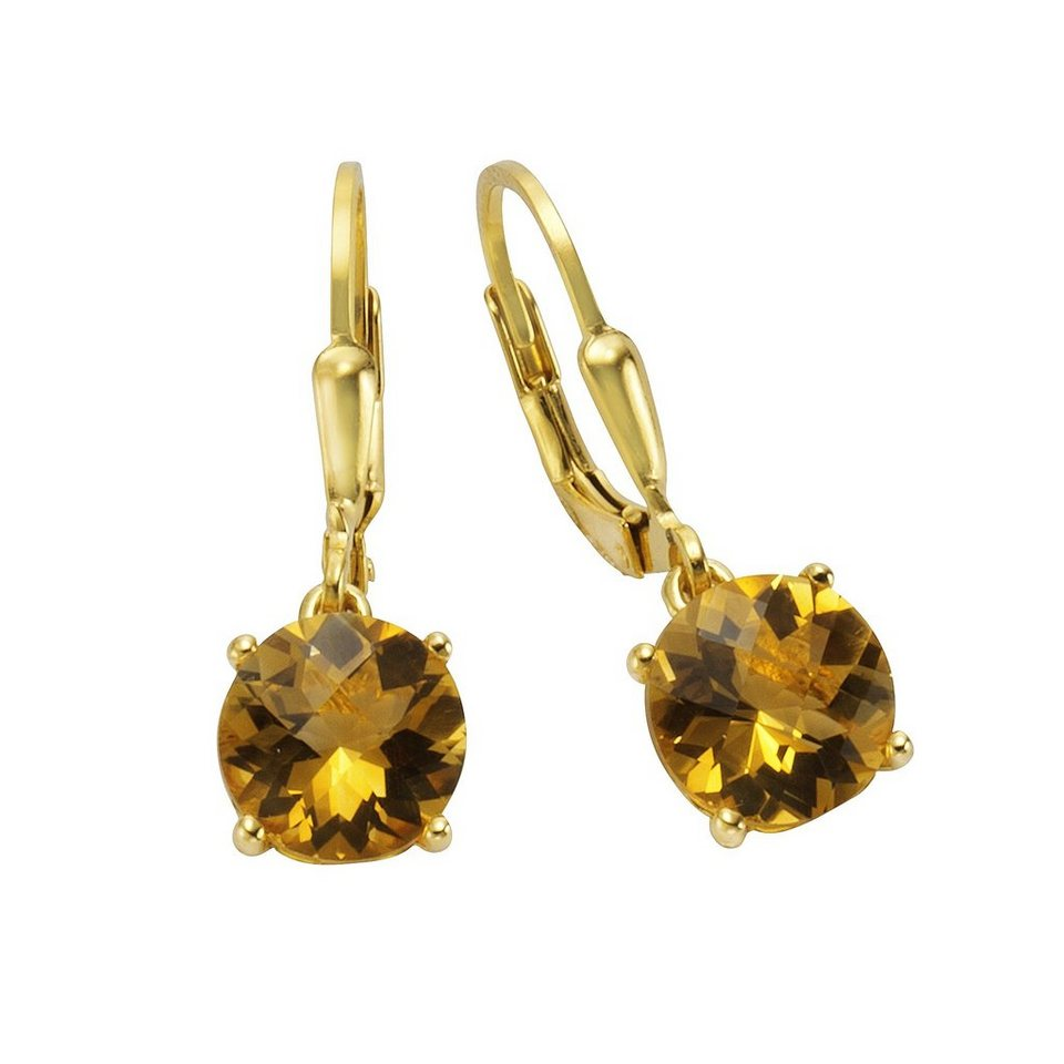 Jamelli Ohrhänger »925/- Sterling Silber vergoldet Citrin« in gelb