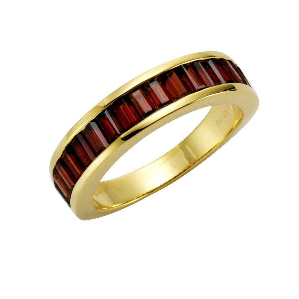 Jamelli Ring »925/- Sterling Silber vergoldet mit Granat« in gelb