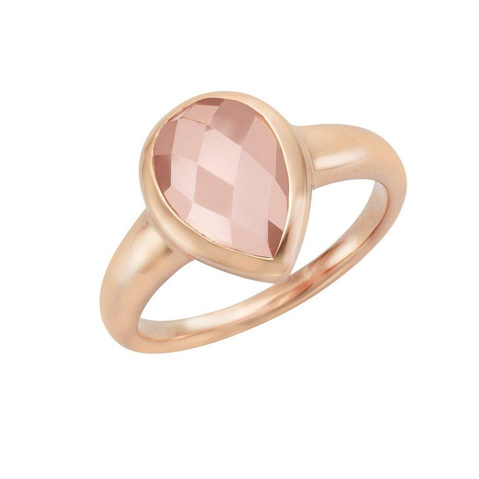 Jamelli Ring »925/- Sterling Silber rotvergoldet Rosenquarz« in rot
