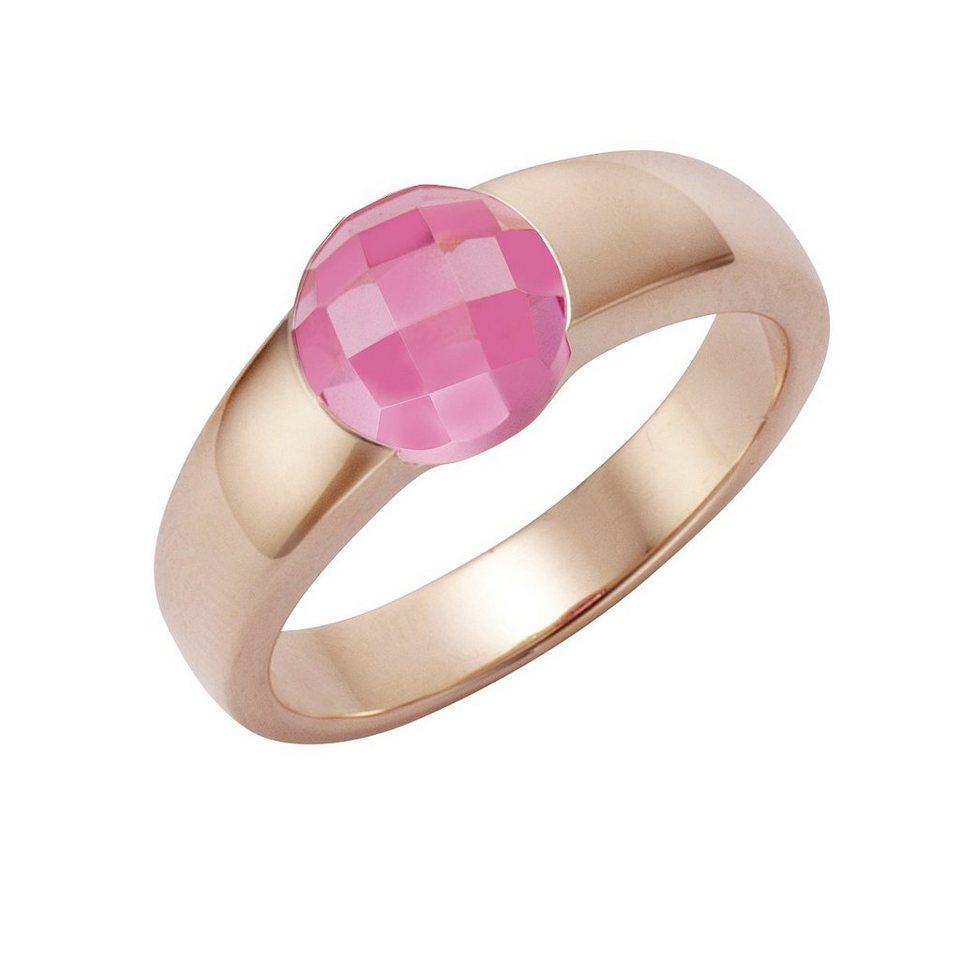 Jamelli Ring »925/- Sterling Silber vergoldet mit Quarz pink« in gelb