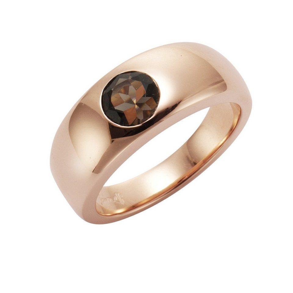 Jamelli Ring »925/- Sterling Silber rotverg. mit Rauchquarz« in rot