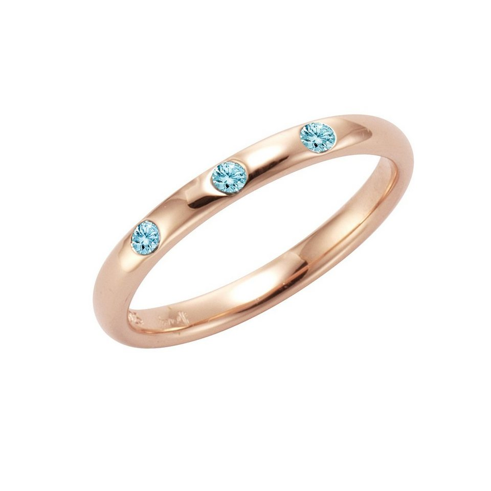 Jamelli Ring »925/- Sterling Silber rotverg. mit Blautopas« in rot