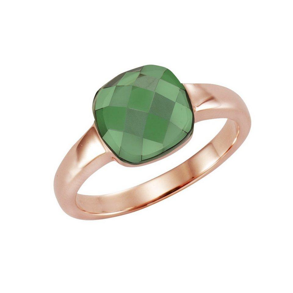 Jamelli Ring »925/- Sterling Silber rotverg. mit Quarz grün« in rot