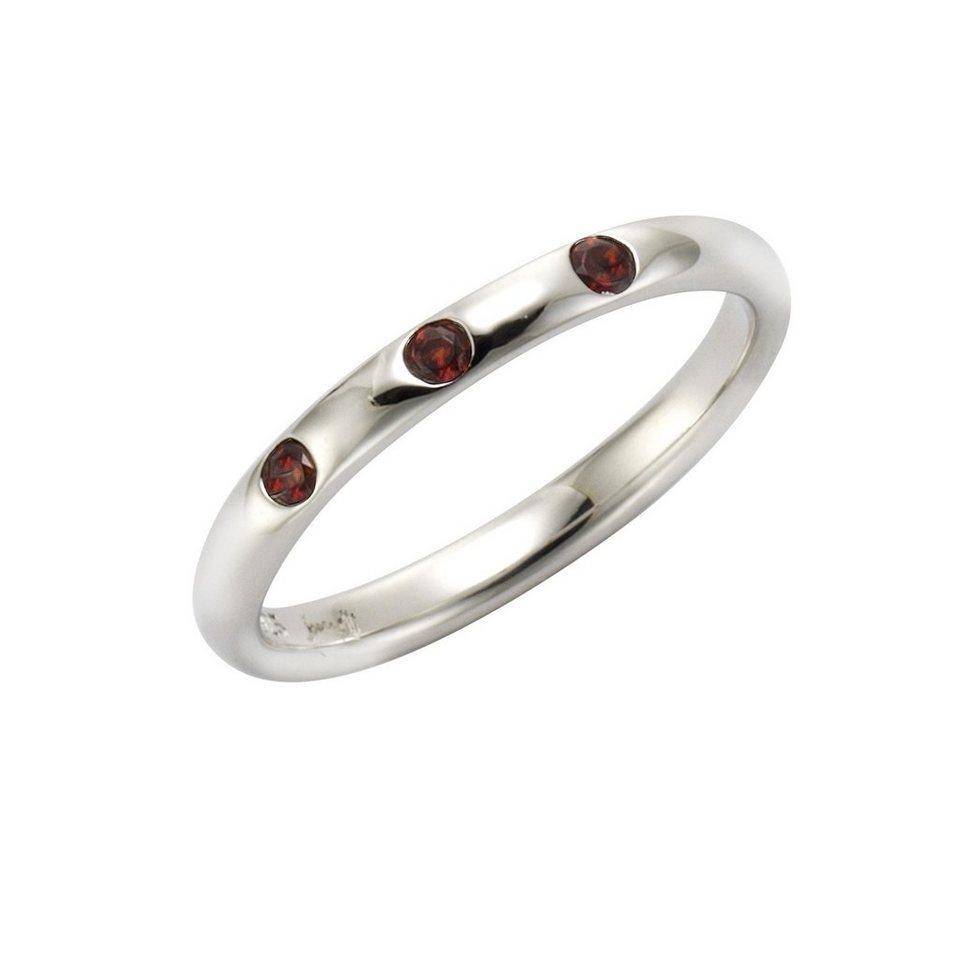 Jamelli Ring »925/- Sterling Silber rhodiniert Granat« in Silbergrau