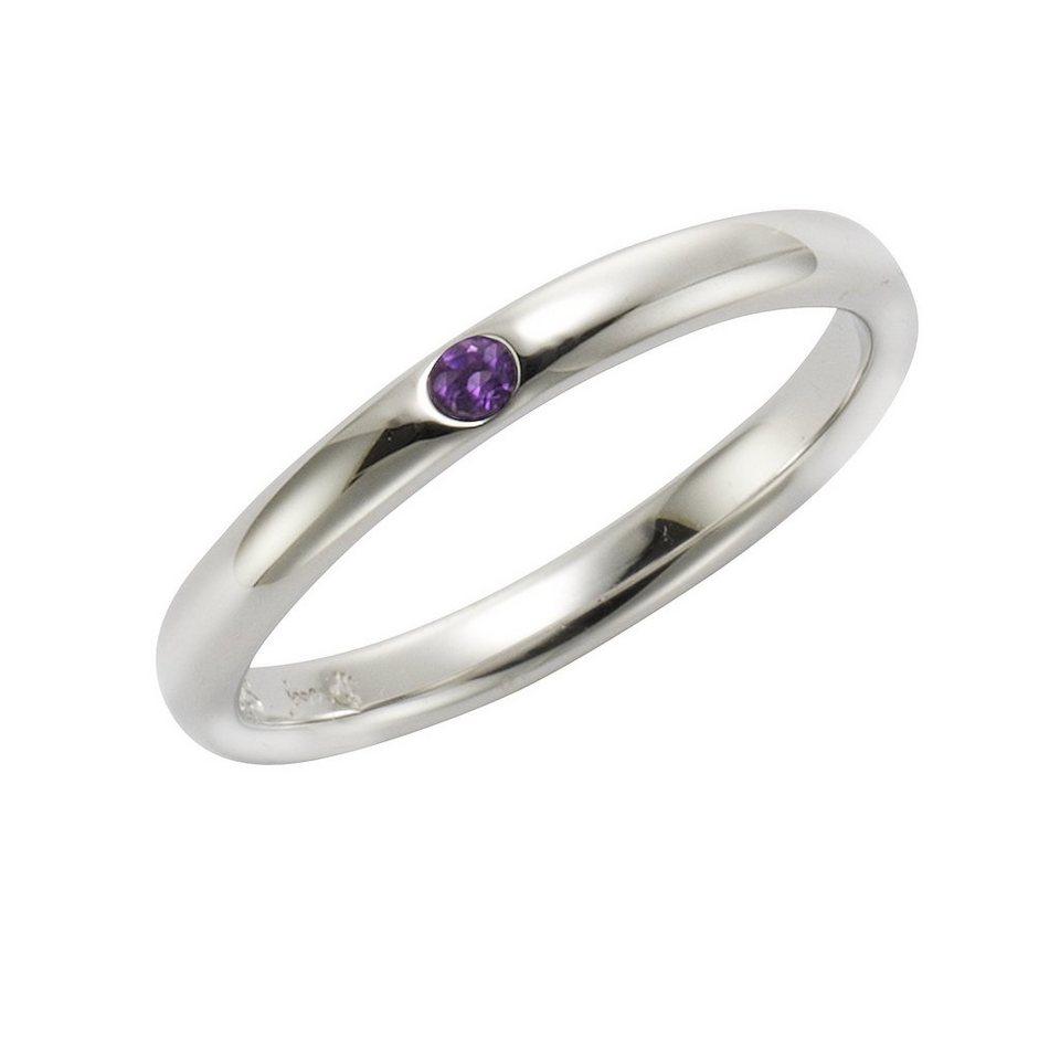 Jamelli Ring »925/- Sterling Silber rhodiniert mit Amethyst« in weiß