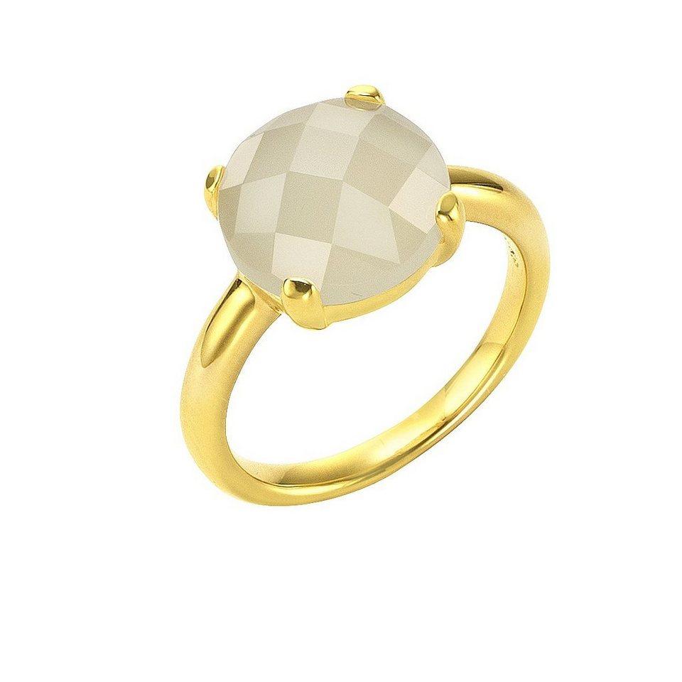Jamelli Ring »925/- Sterling Silber vergoldet mit Mondstein« in gelb
