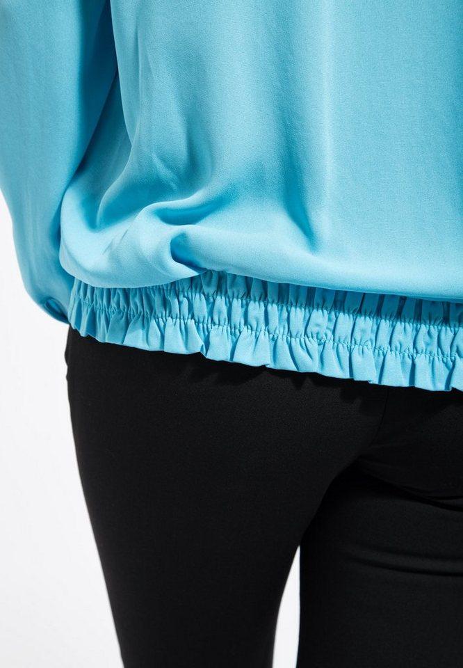 Mexx Langarmbluse aus leichtem Crepe mit Schluppenband in blau