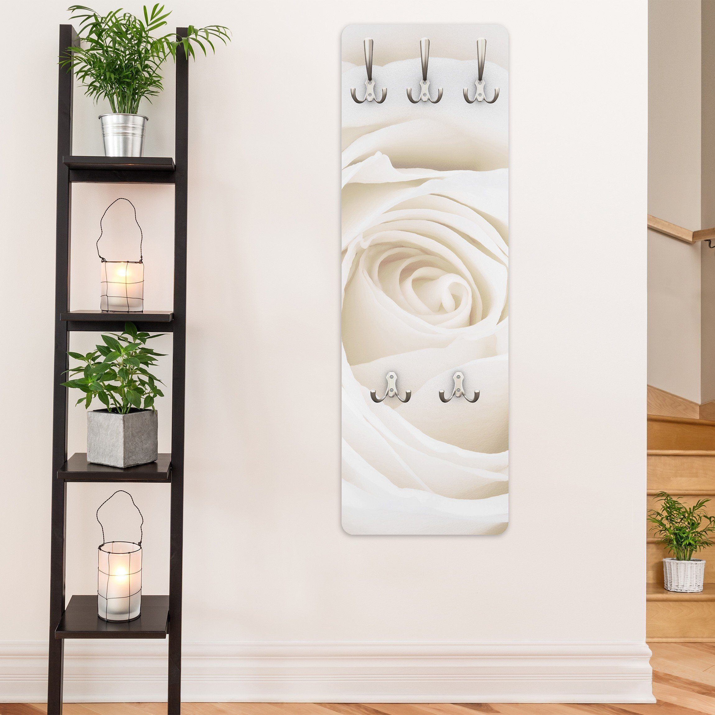 Bilderwelten Wandgarderobe 139x46x2cm »Pretty White Rose«
