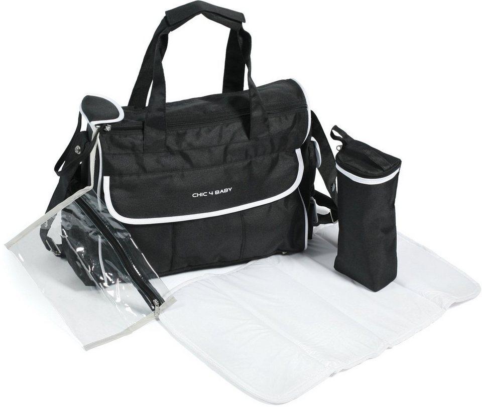 CHIC4BABY Wickeltasche mit Thermoflaschen Bag, »Luxury schwarz/weiß« in schwarz/weiß