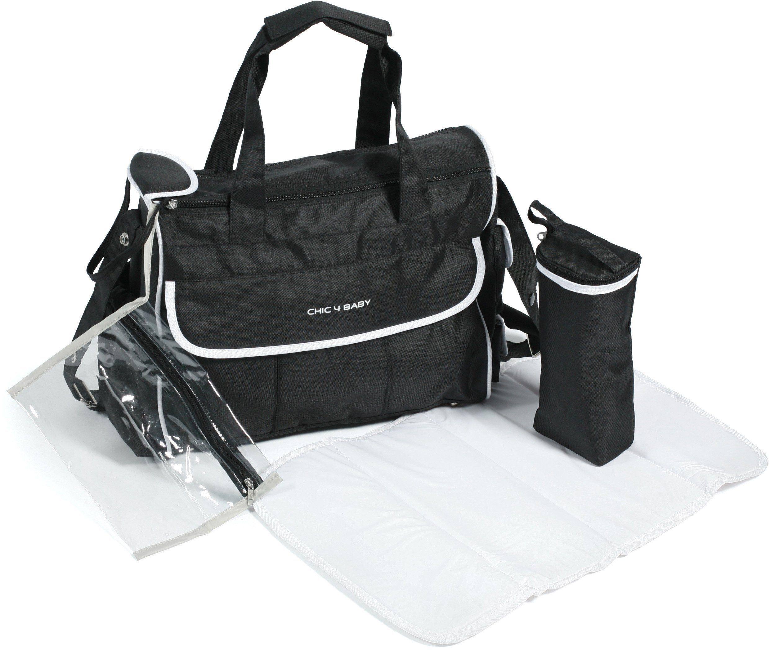 CHIC4BABY Wickeltasche mit umfangreicher Ausstattung, schwarz/weiß »LUXURY«