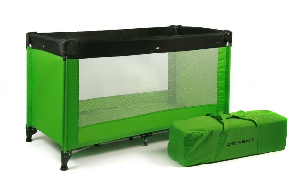 chic4baby reisebett mit transport tasche basic gr n. Black Bedroom Furniture Sets. Home Design Ideas