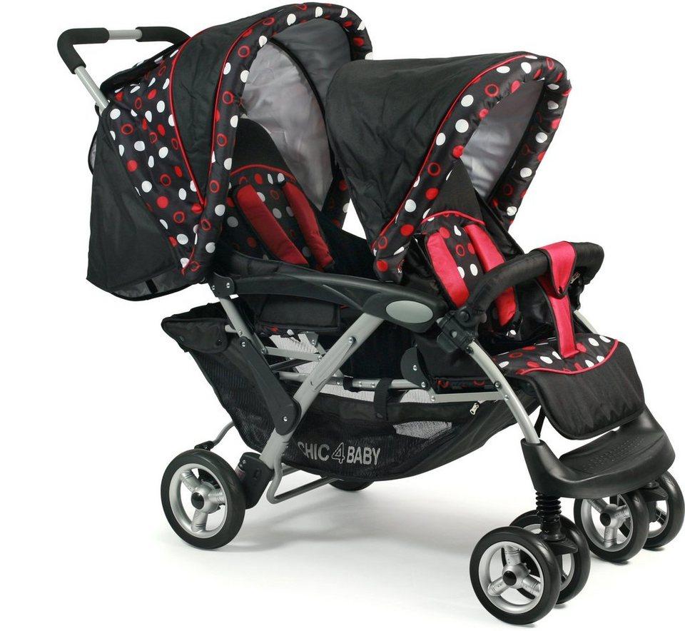 CHIC4BABY Geschwisterwagen mit herausnehmbarer Baby Tragetasche, »Duo dots« in dots
