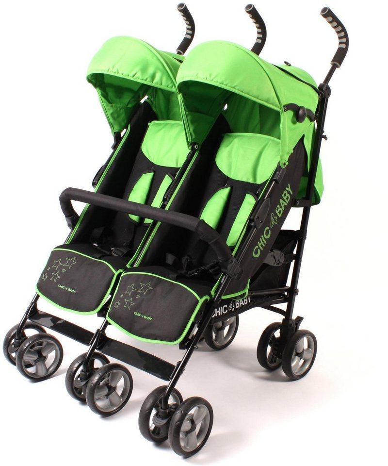 CHIC4BABY Buggy mit feststellbaren Vorderrädern, »Zwillingsbuggy green stars« in green stars