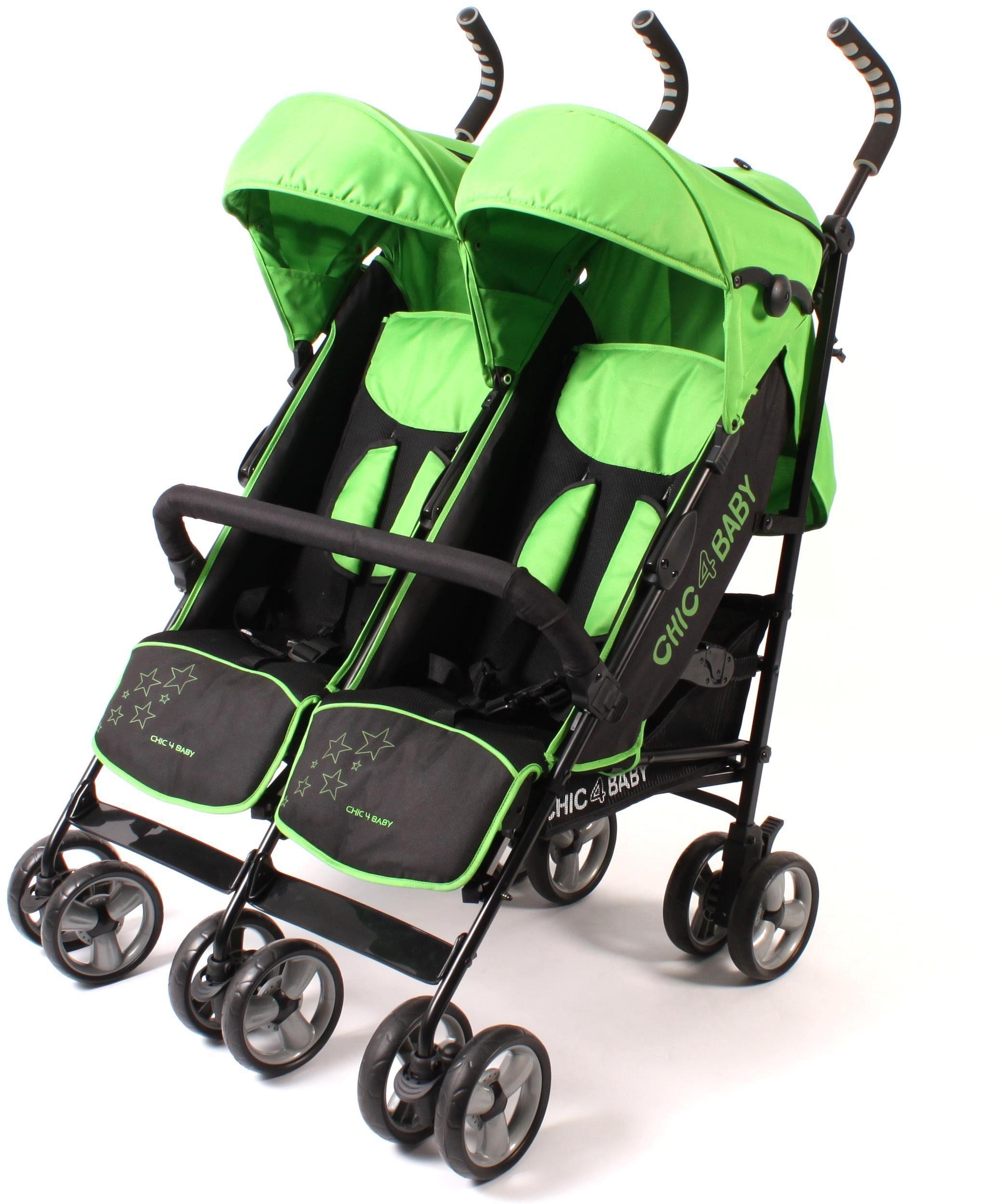 CHIC4BABY Buggy mit feststellbaren Vorderrädern, »Zwillingsbuggy green stars«