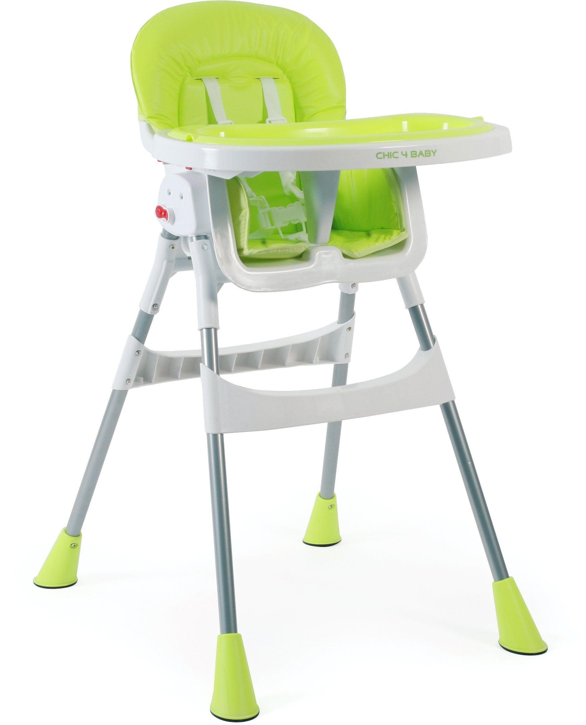 CHIC4BABY Hochstuhl mit verstellbarem Ablagebrett, »Basic lemongreen«