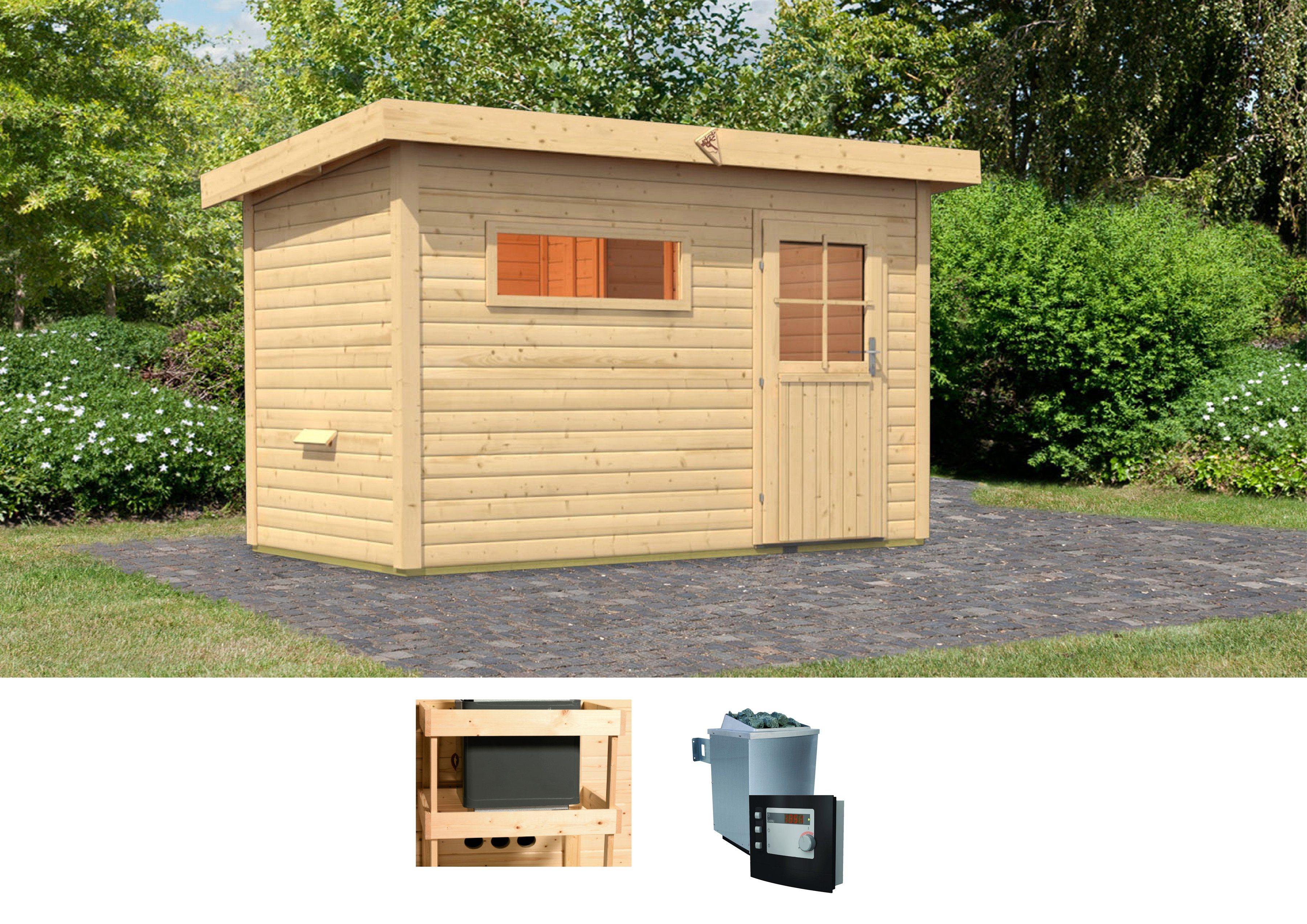 KARIBU Saunahaus »Uwe 1«, 337/196/228 cm, 9-kW-Ofen mit ext. Steuerung | Baumarkt > Bad und Sanitär > Sauna und Zubehör | Karibu