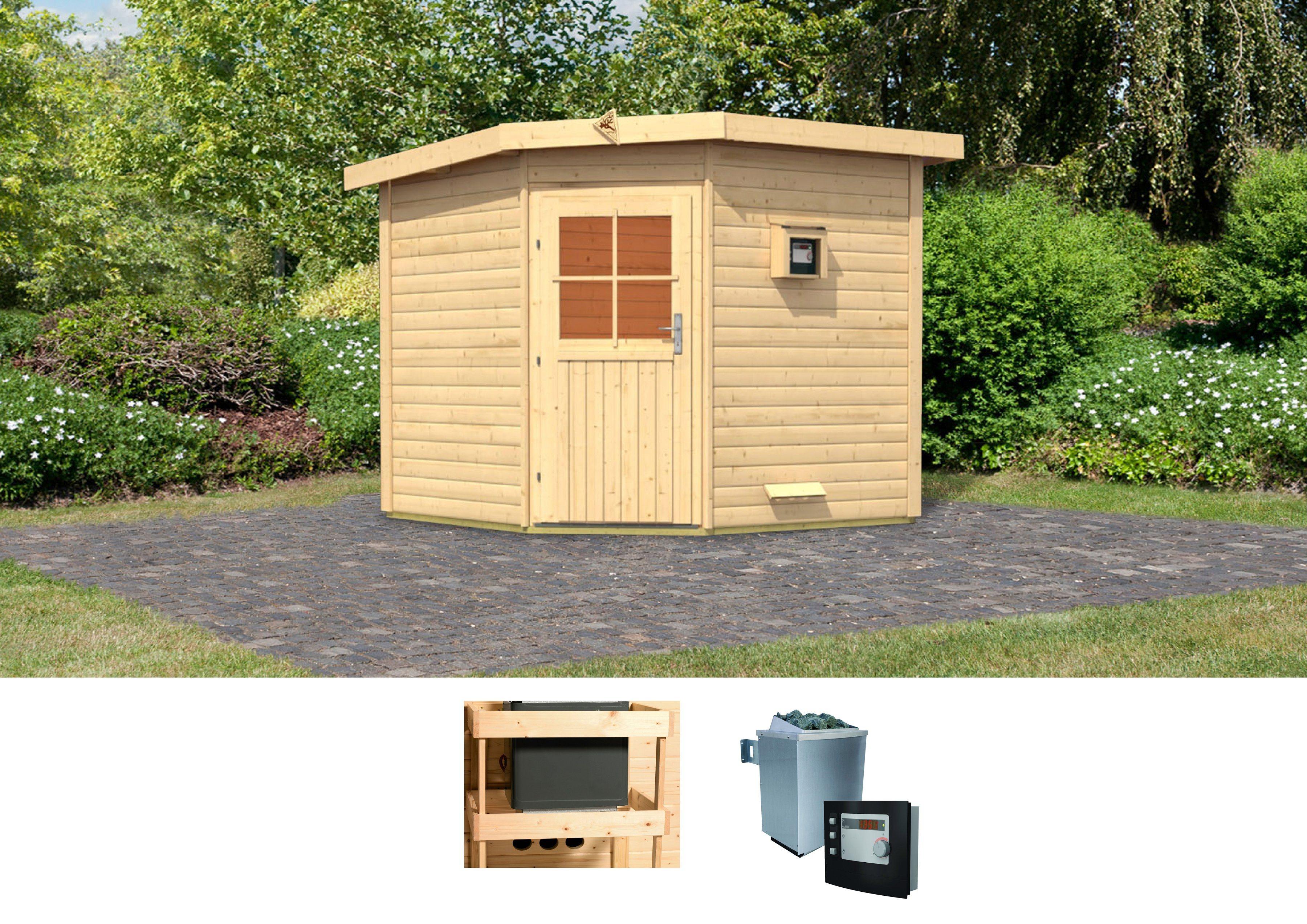 KARIBU Saunahaus »Hauke«, 231/231/226 cm, 9-KW-Ofen mit ext. Steuerung | Baumarkt > Bad und Sanitär > Sauna und Zubehör | Karibu
