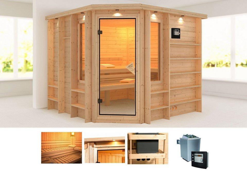 karibu massivholzsauna marona 262 253 212 cm 9 kw ofen mit ext steuerung online kaufen otto. Black Bedroom Furniture Sets. Home Design Ideas
