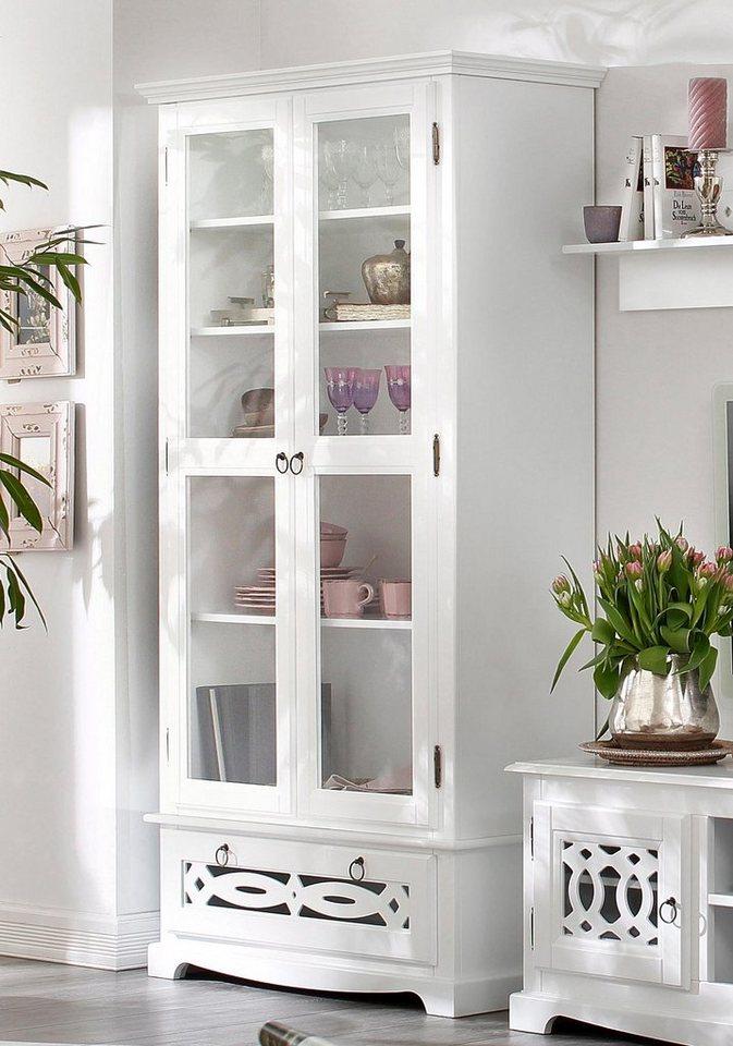 Home affaire Vitrine »Elegance«, 2trg., Höhe 187 cm in weiß