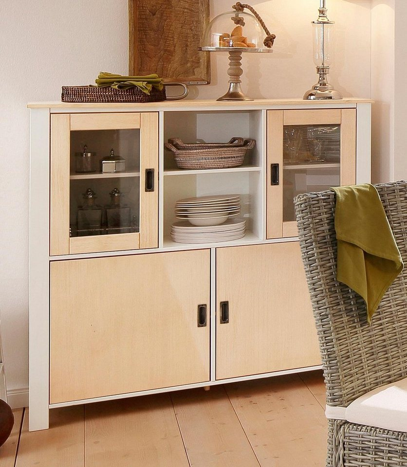 Home affaire Highboard »Madagaskar«, Breite 125 cm in weiß/hellbraun