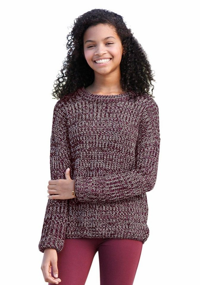 Arizona Strickpullover in melierter Optik in bordeaux-rot-meliert