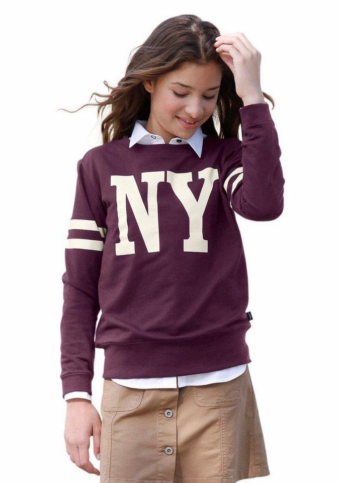 Arizona Sweatshirt mit Front- und Ärmeldruck in bordeaux-rot