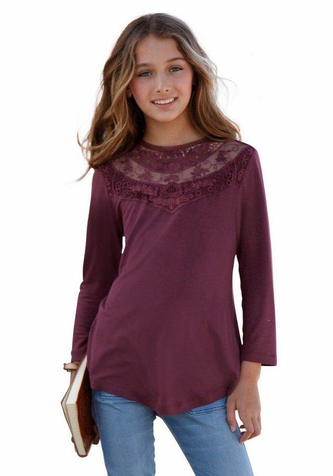 Arizona 3/4-Arm-Shirt mit Spitzeneinsatz vorn in bordeaux-rot