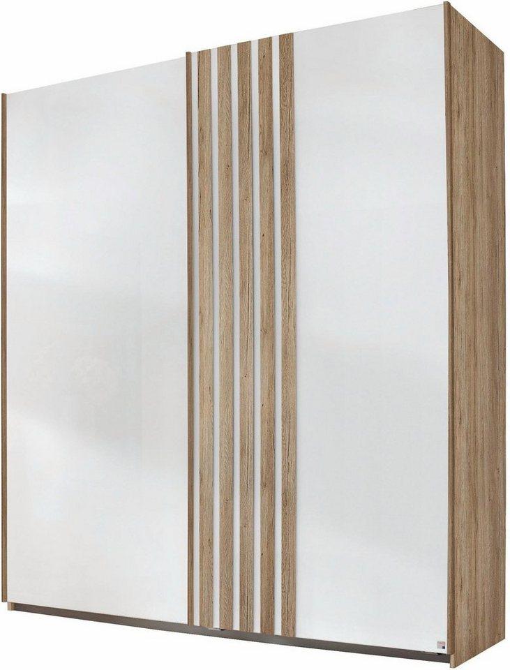 rauch Schwebetürenschrank mit Glasfront in eichefarben San Remo/Weißglas