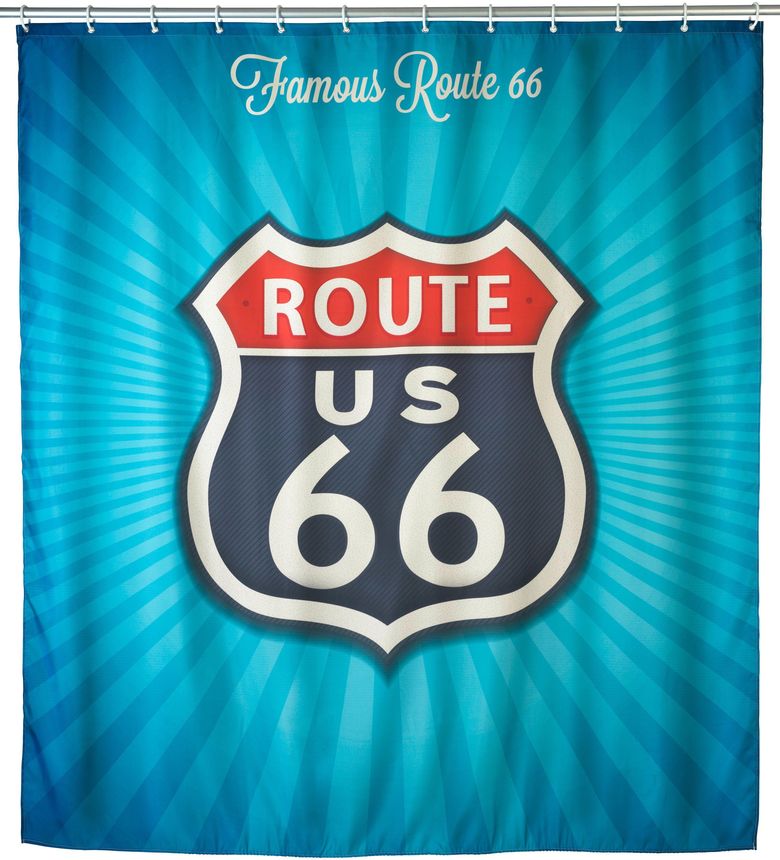 WENKO Duschvorhang »Vintage Route 66«, Anti-Schimmel, 180 x 200 cm, waschbar