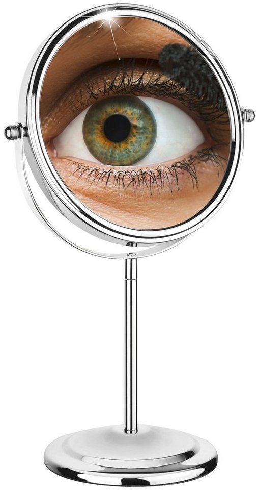 Kosmetikspiegel »Schminkhilfe«, 7-fache Vergrößerung in silber glänzend