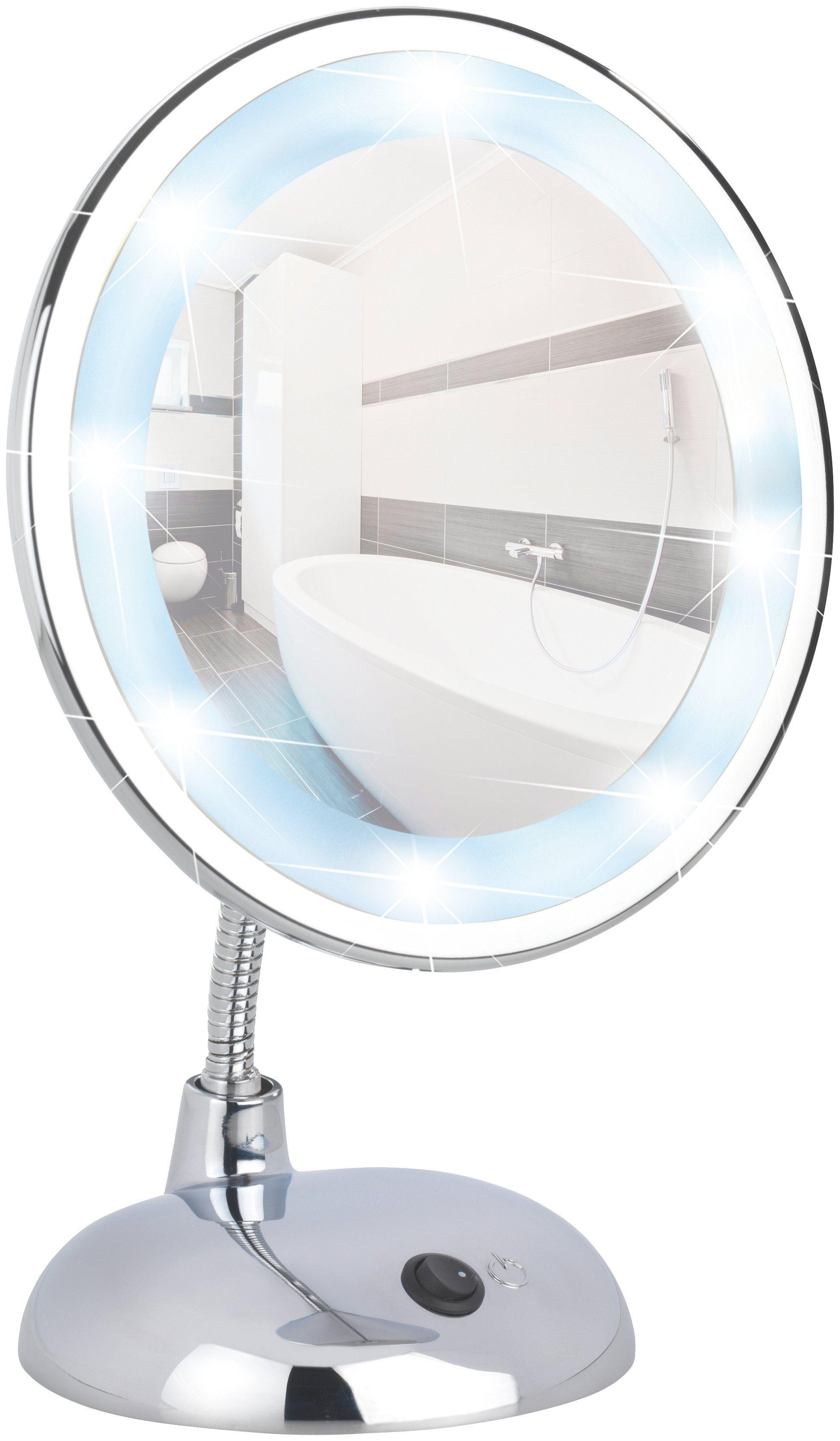 WENKO Kosmetikspiegel »Style Chrome«, LED Standspiegel, 3-fach Vergrößerung