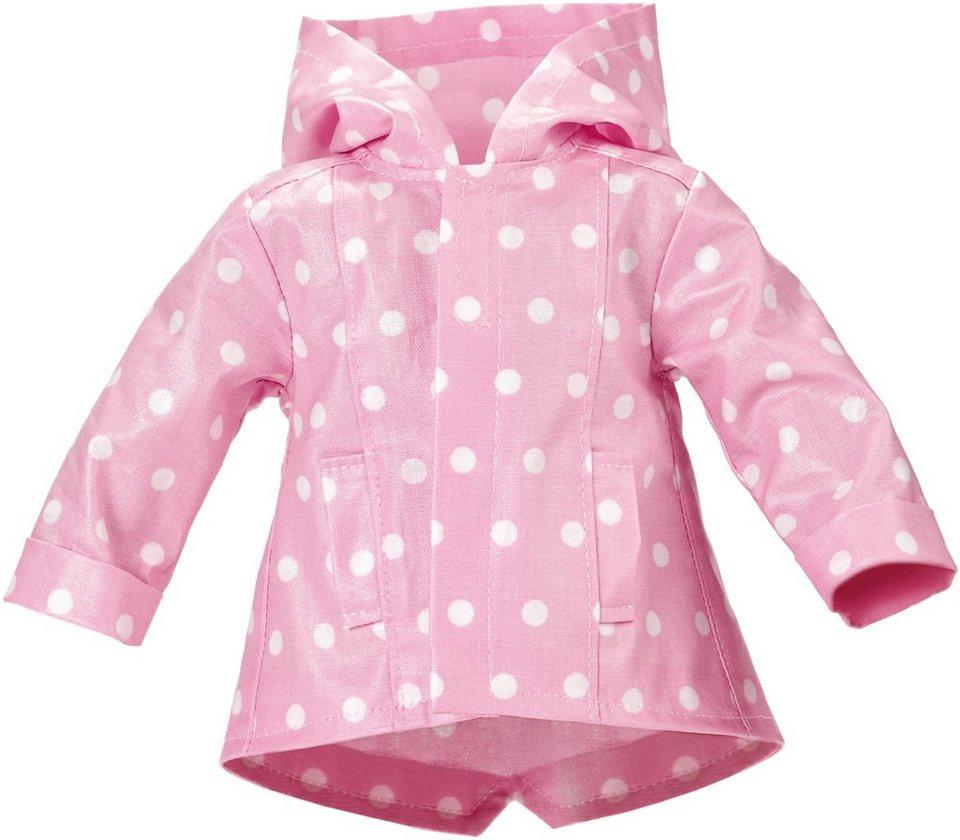 Käthe Kruse Puppenbekleidung, Gr. ca. 39-41cm, »Outfit Regenjacke rosa mit weißen Tupfen 39-41 cm« in rosa