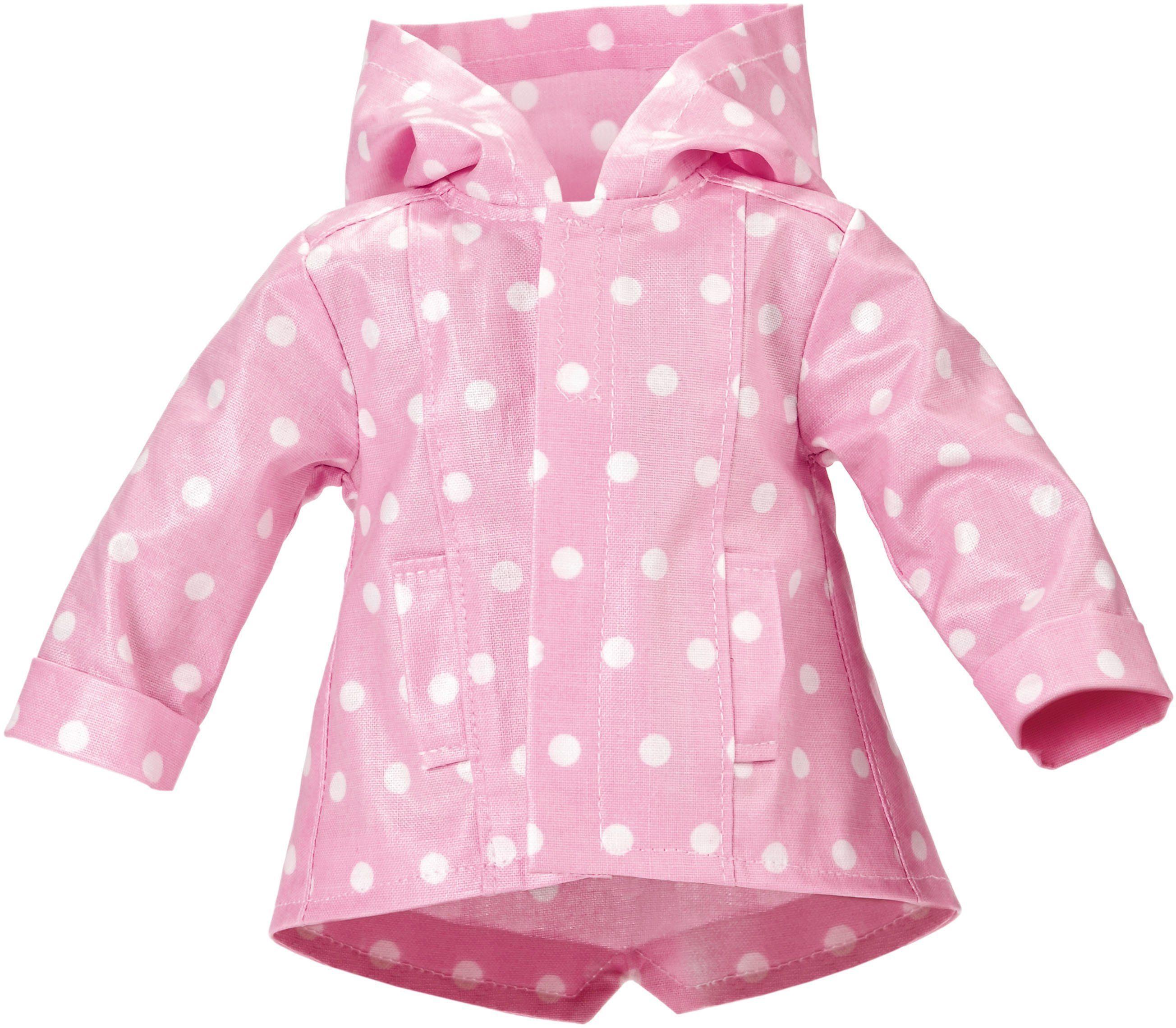Käthe Kruse Puppenbekleidung, Gr. ca. 39-41cm, »Outfit Regenjacke rosa mit weißen Tupfen 39-41 cm«