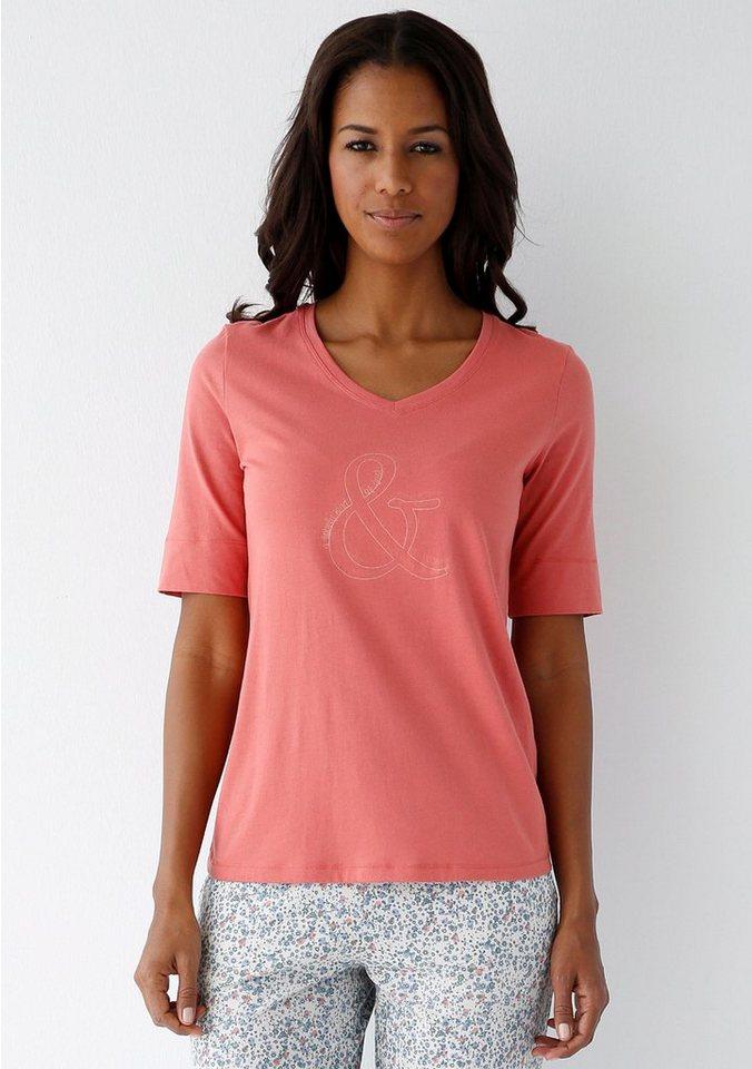 SCHIESSER T-Shirt mit V-Ausschnitt und Frontprint in whisky