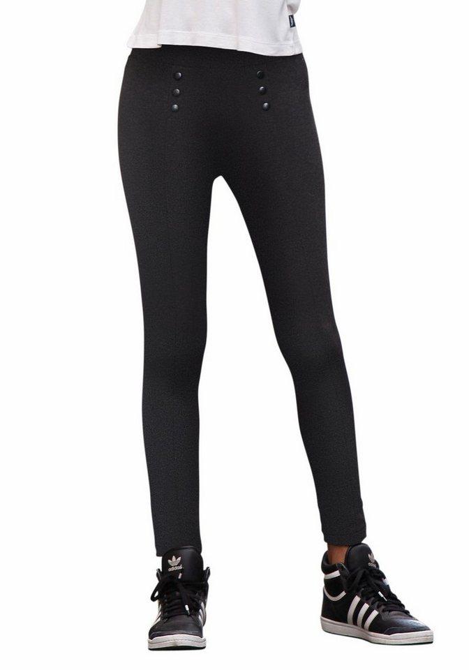 Arizona Stretch-Hose mit Knopfapplikation in schwarz
