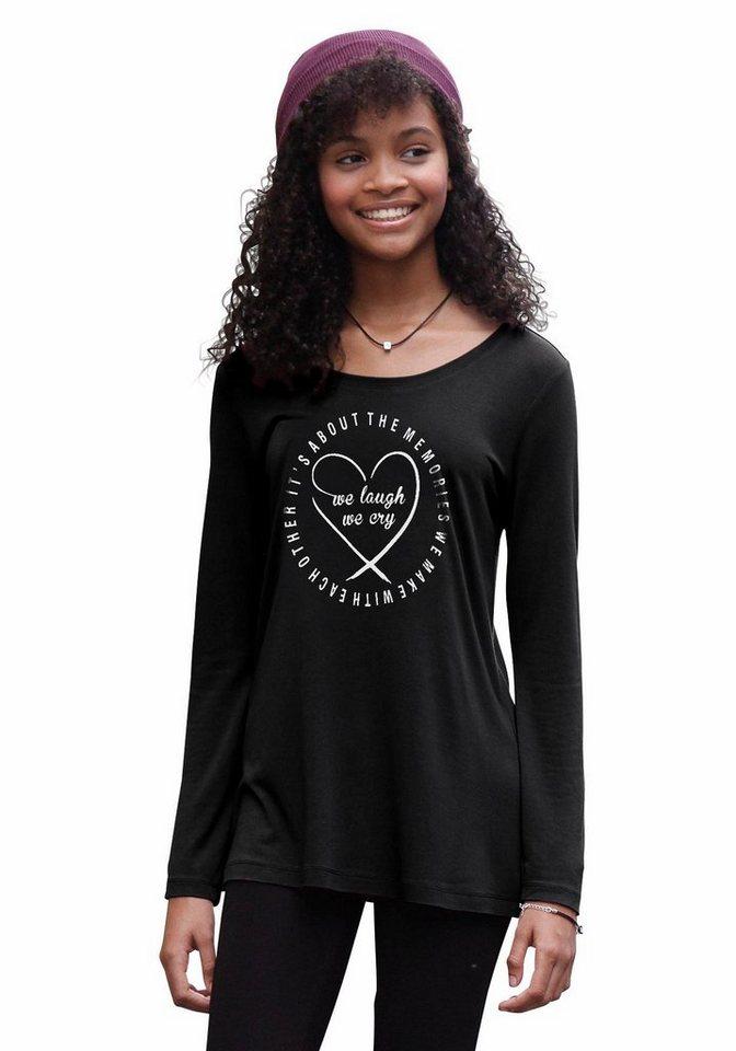 Arizona Longshirt mit Frontdruck in schwarz