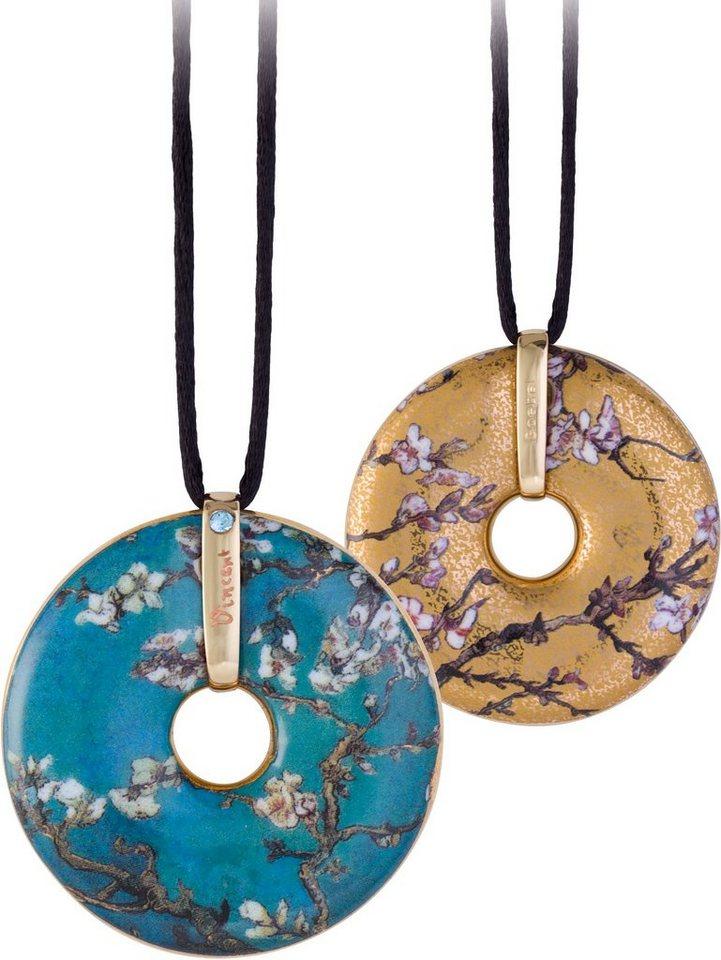 Goebel Kette mit Anhänger mit Swarovski® Kristall, »Mandelbaum, 66989633« in goldfarben-vergoldet-blau-schwarz