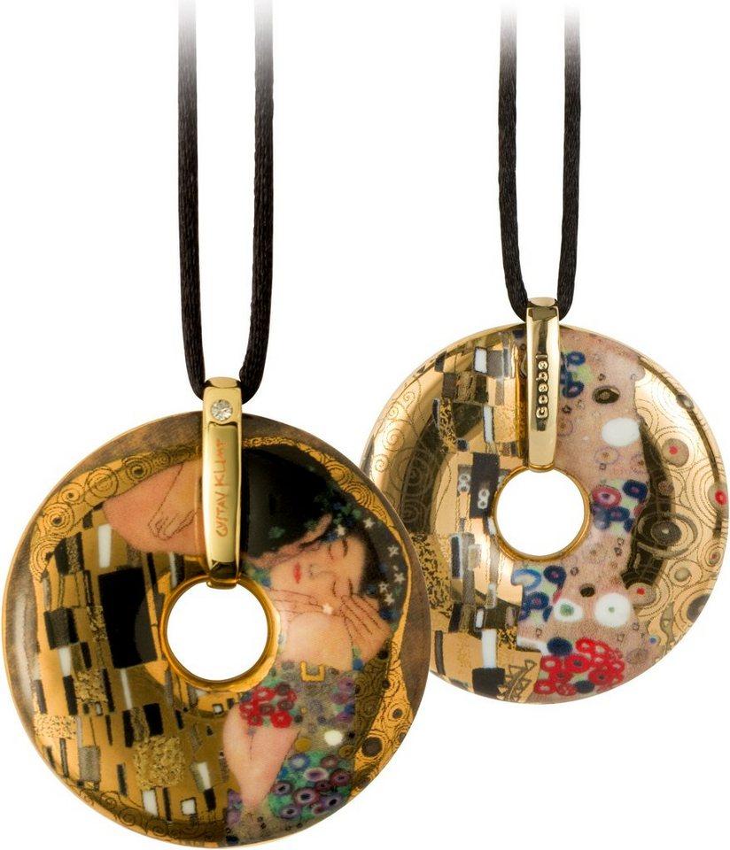 Goebel Kette mit Anhänger mit Swarovski® Kristall, »Der Kuss, 66989575« in goldfarben-vergoldet-braun-schwarz