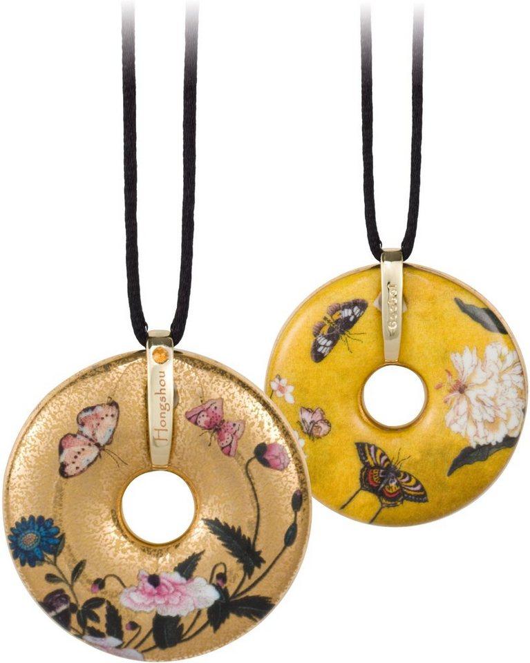 Goebel Kette mit Anhänger mit Swarovski® Kristall, »Butterflies, 66989971« in goldfarben-vergoldet-beige-schwarz