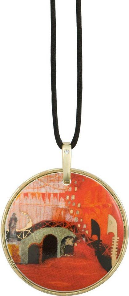 Goebel Kette mit Anhänger mit Swarovski® Kristall, »Ponte Veneziano, 66850769« in goldfarben-vergoldet-orange-schwarz