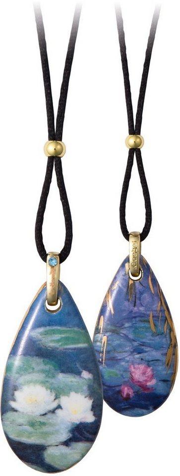 Goebel Kette mit Anhänger mit Swarovski® Kristall, »Seerosen am Abend, 66999051« in goldfarben-vergoldet-blau