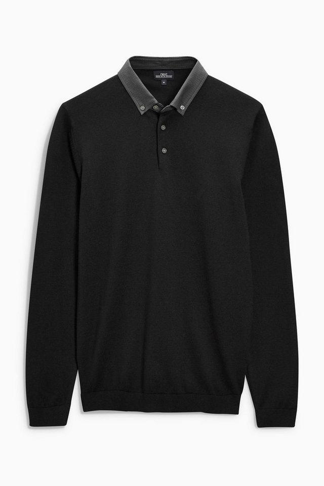 Next Poloshirt mit Stoffkragen in Schwarz