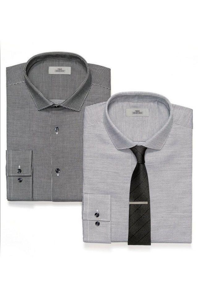 Next Slim-Fit Hemden, Krawatte und Krawattenklammer im Set 4 teilig in Black