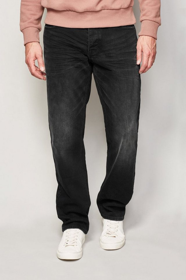 Next Straight-Fit Washed Black Stretch-Jeans in Schwarz Straight-Fit